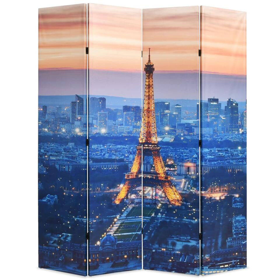 VIDAXL Kamerscherm - inklapbaar - Parijs - bij nacht - 160x170 cm