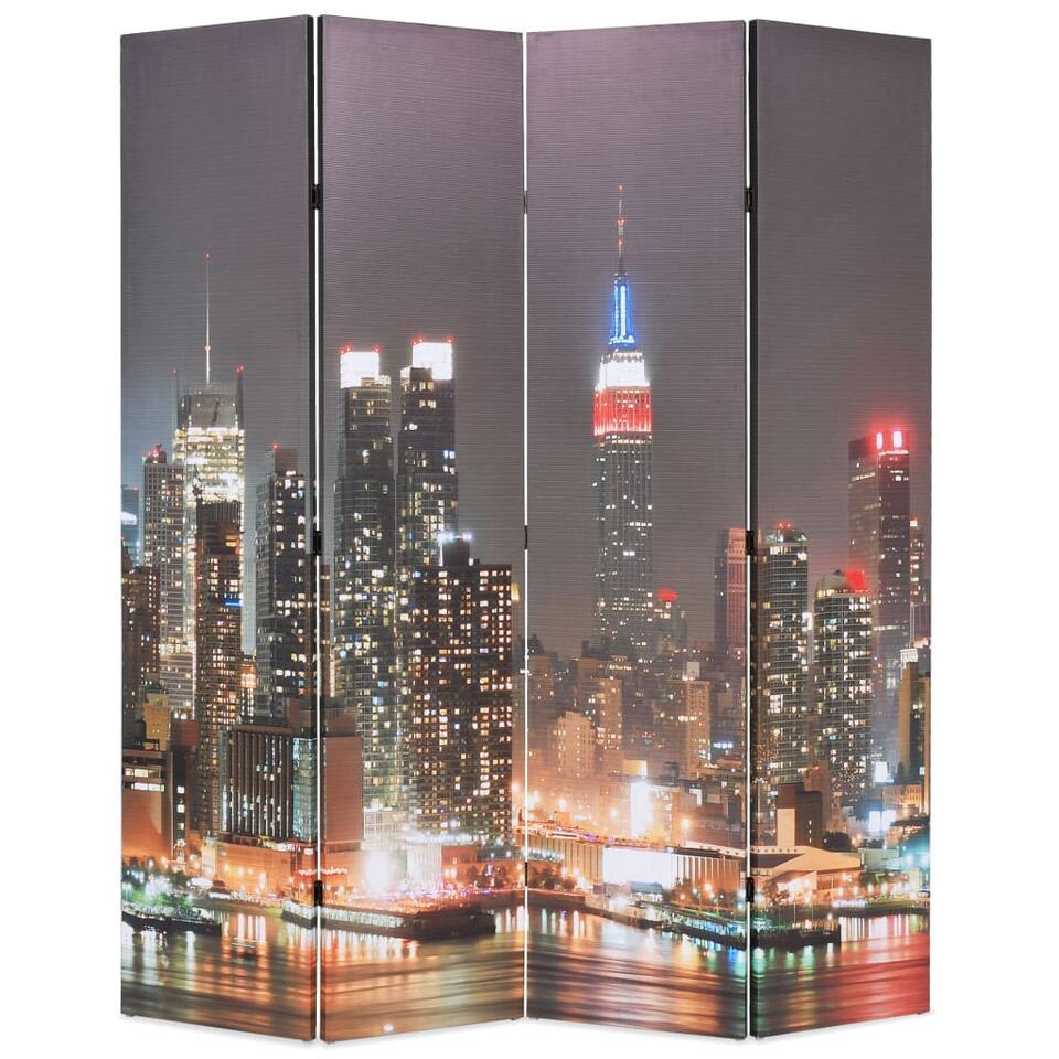 VIDAXL Kamerscherm - inklapbaar - New York - bij nacht - 160x170 cm