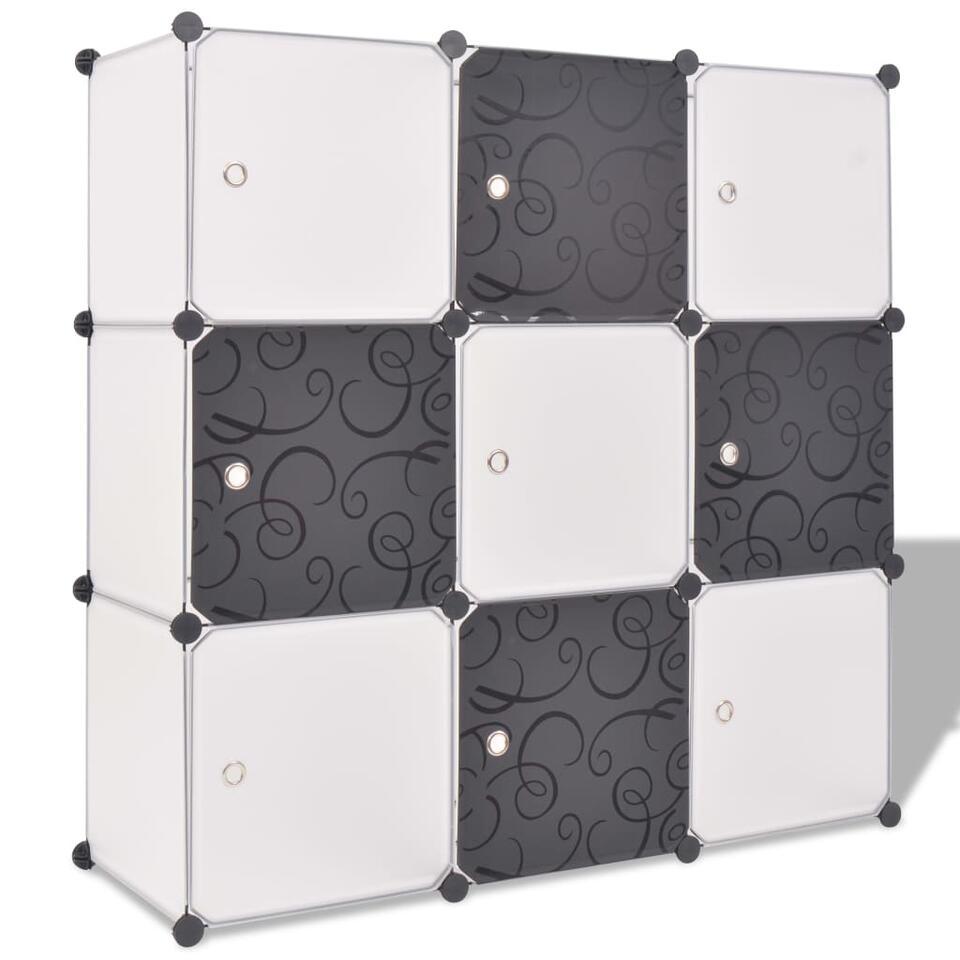 VIDAXL Opbergmeubel - met 9 vakken - zwart en wit