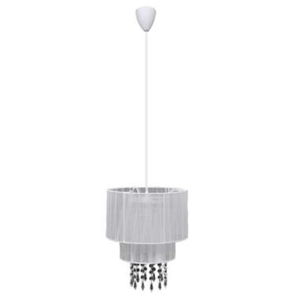 VIDAXL kroonluchter Julia - kristallen - witte lampenkap