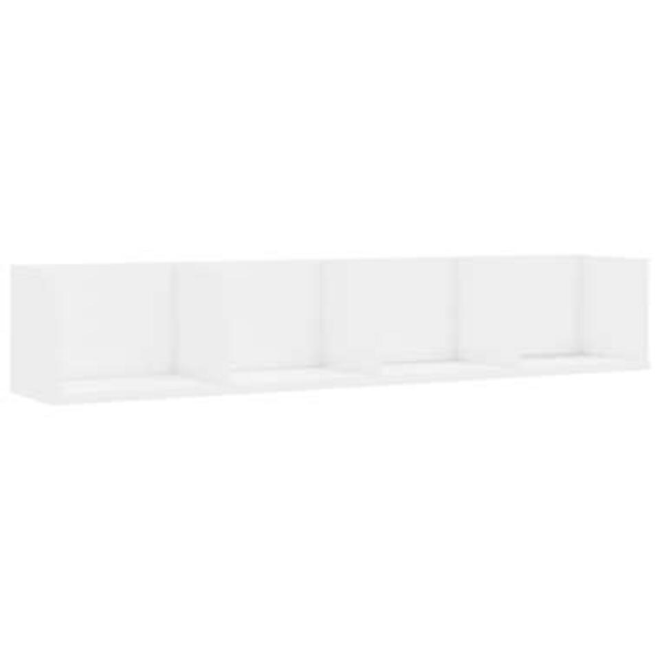 VIDAXL - Cd-wandschap - 100x18x18 cm - spaanplaat - hoogglans wit