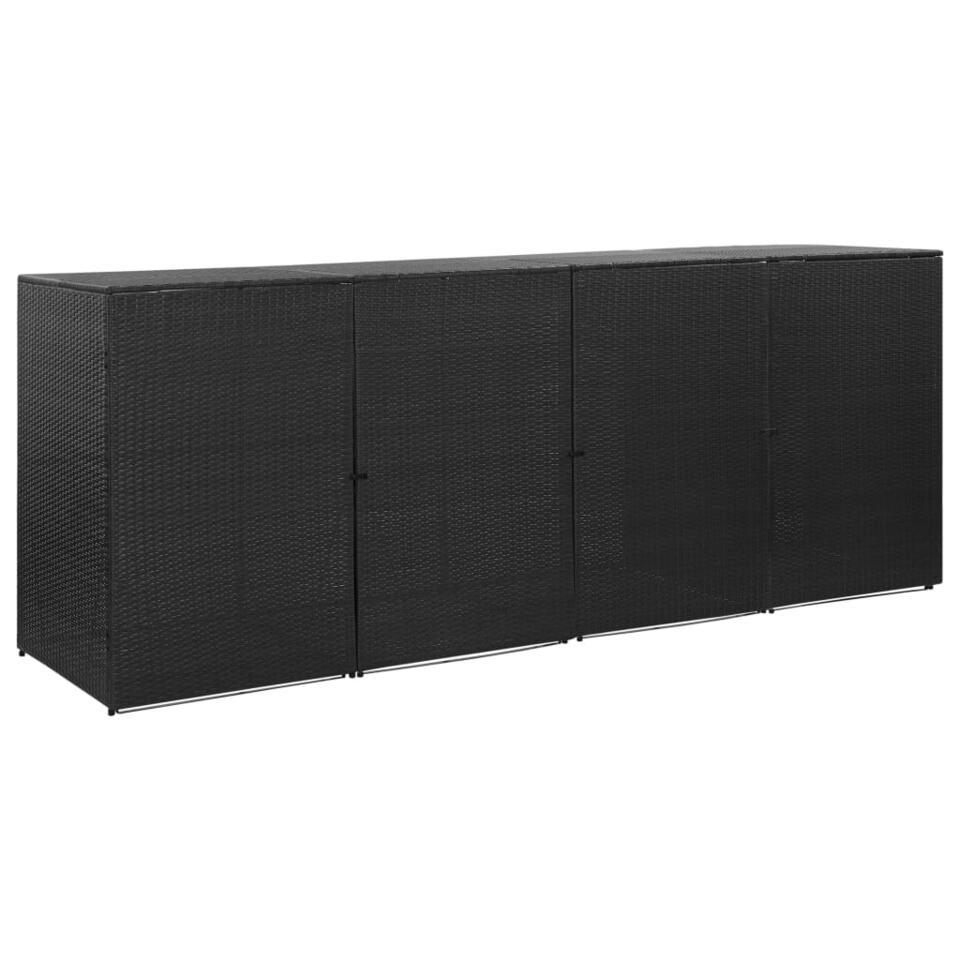 vidaXL Containerberging vierdubbel 305x78x120 cm poly rattan zwart