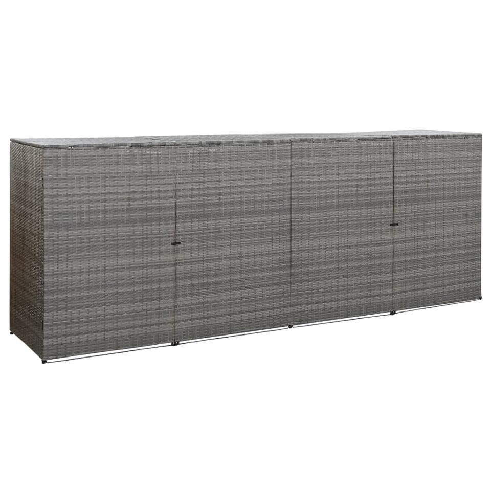 vidaXL Containerberging vierdubbel 305x78x120 cm poly rattan antraciet