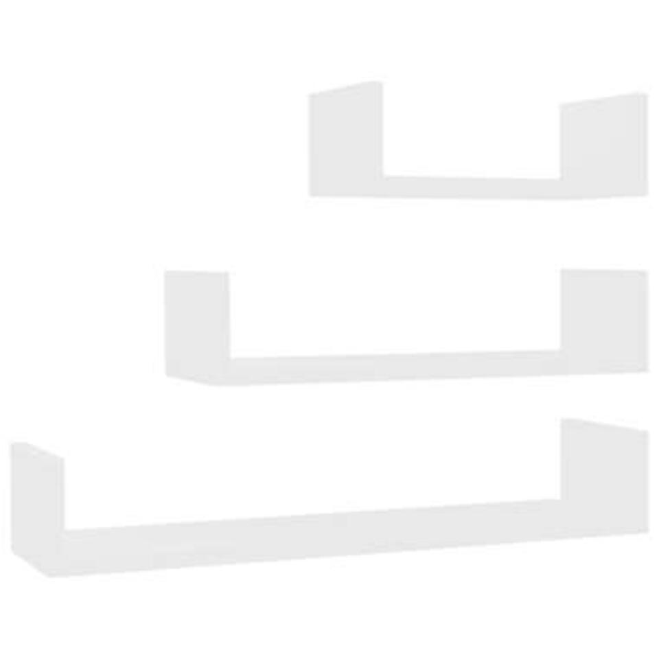 VIDAXL - Wandschappen - 3 st - spaanplaat - wit