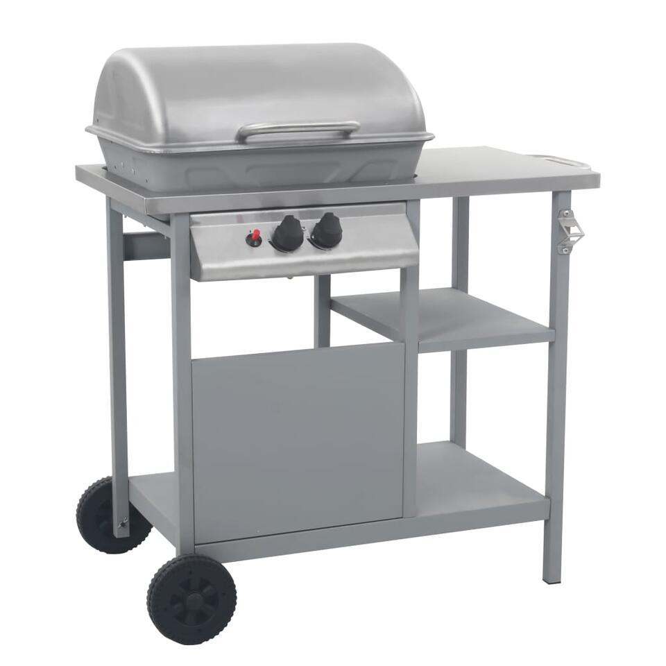 vidaXL Gasbarbecue met 3-laags zijtafel - zwart en zilverkleurig