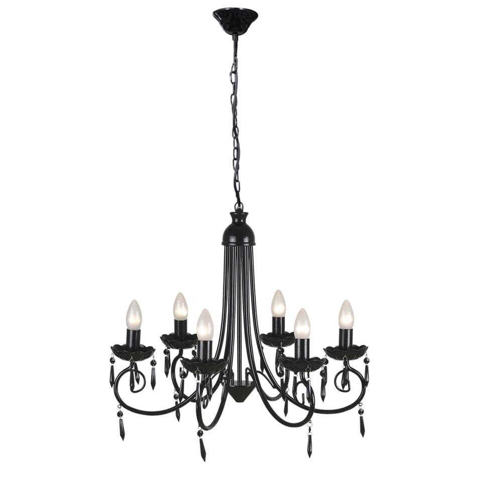VIDAXL Plafondlamp - kroonluchter - 6 - lampjes - zwart