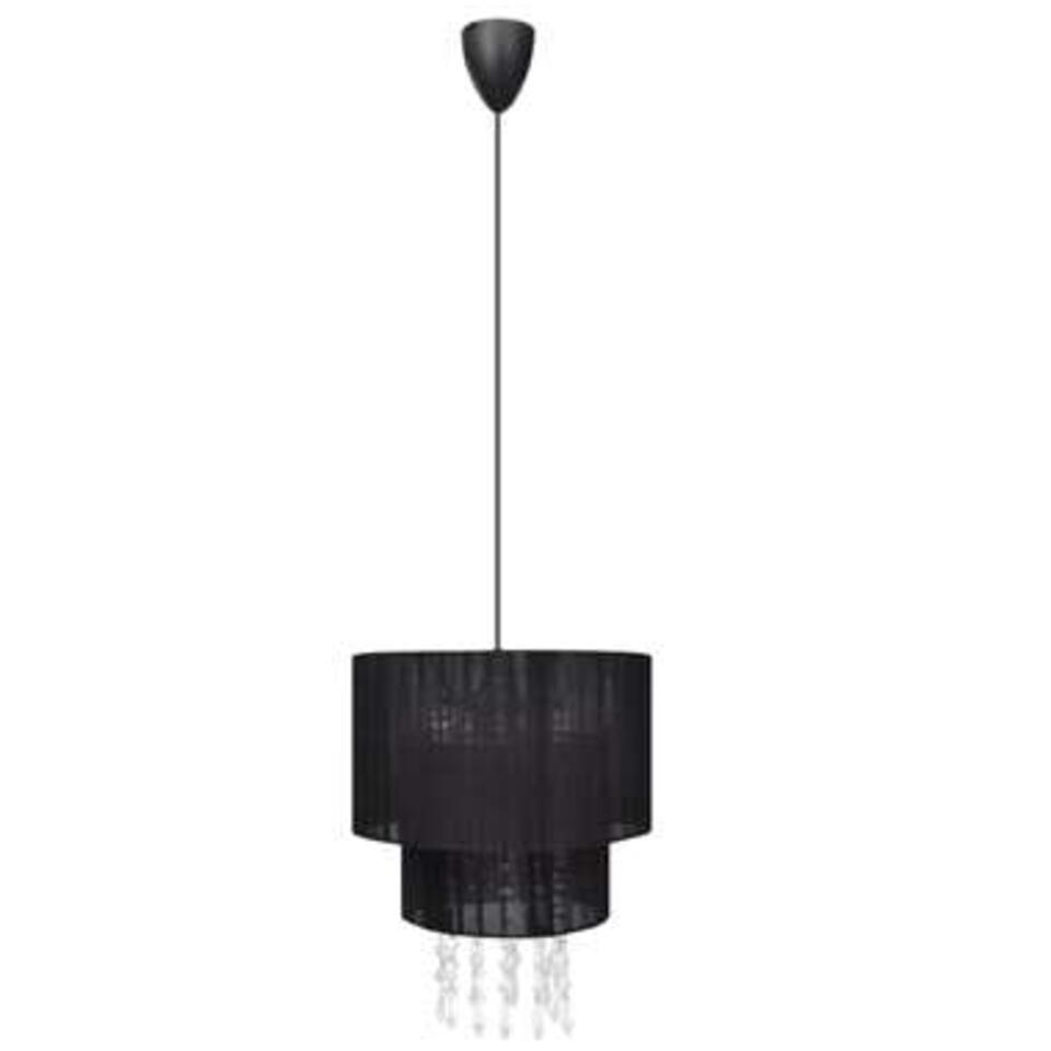 VidaXL kroonluchter Julia - kristallen - zwarte lampenkap