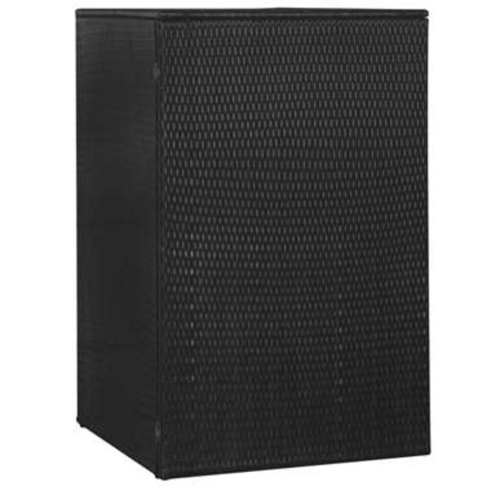 vidaXL Enkele containerberging - 76x78x120 cm - poly rattan - zwart