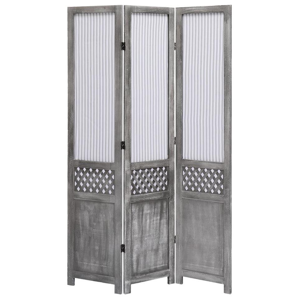 VIDAXL Kamerscherm - met 3 panelen - 105x165 cm - stof - grijs