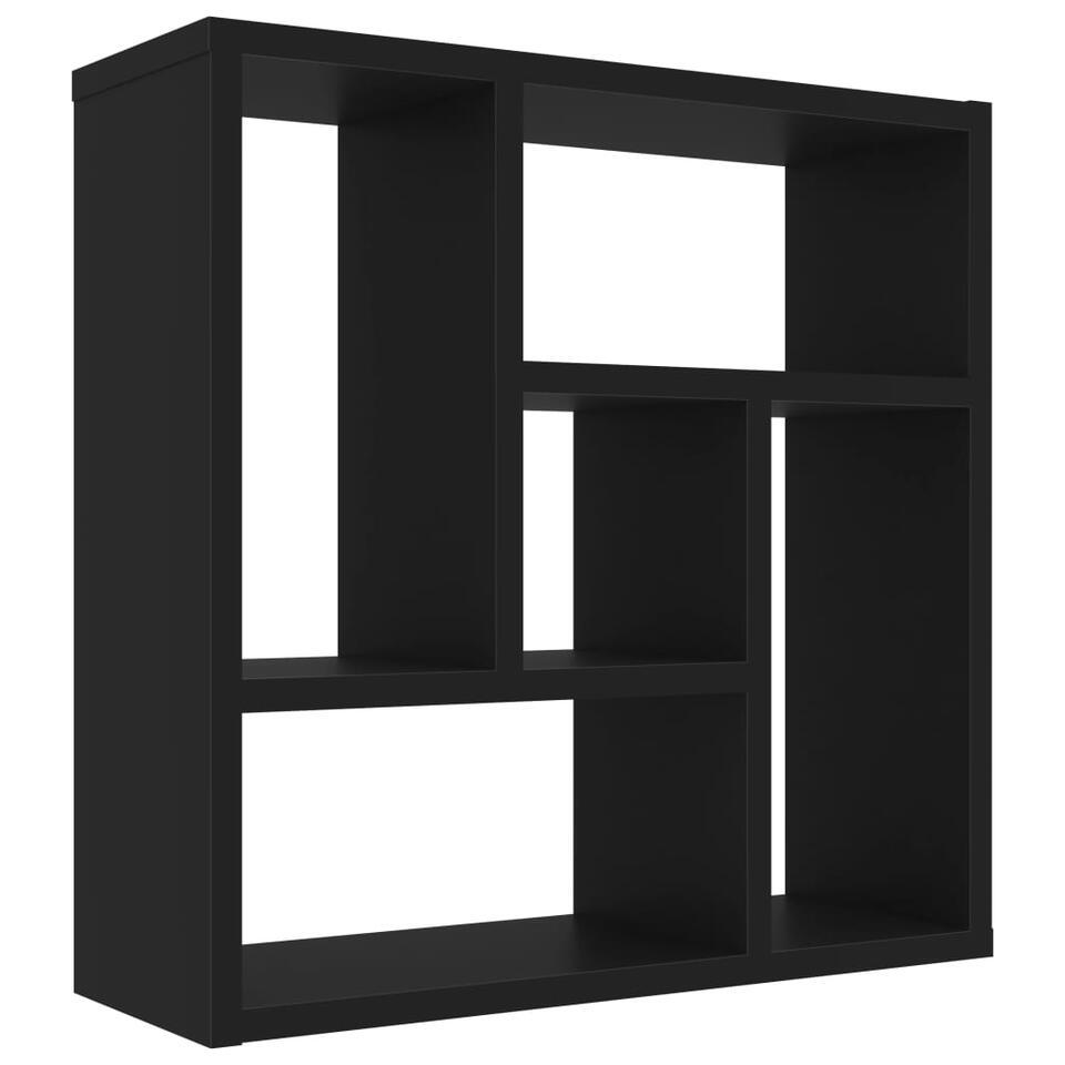 VIDAXL - Wandschap - 45,1x16x45,1 cm - spaanplaat - zwart