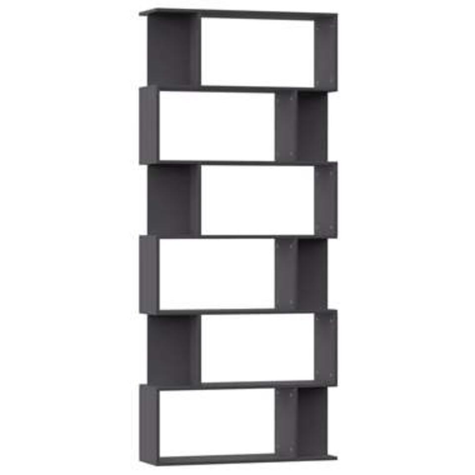 VIDAXL - Boekenkast/kamerscherm - 80x24x192 cm - spaanplaat - grijs