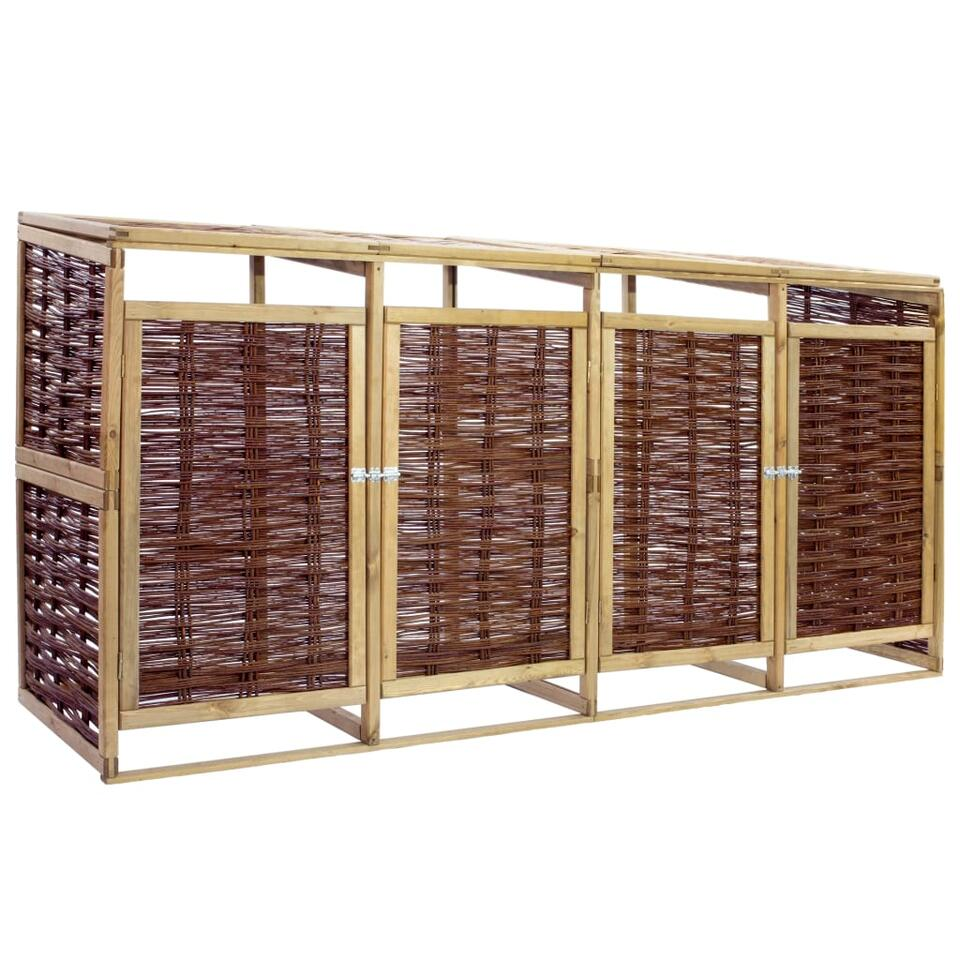 vidaXL Containerberging vierdubbel - grenenhout en wicker