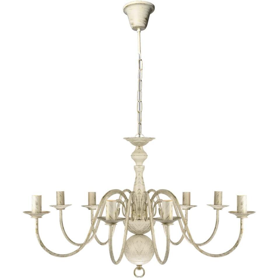 VIDAXL Kroonluchter - witmetaal - 8 x E14 - lampen