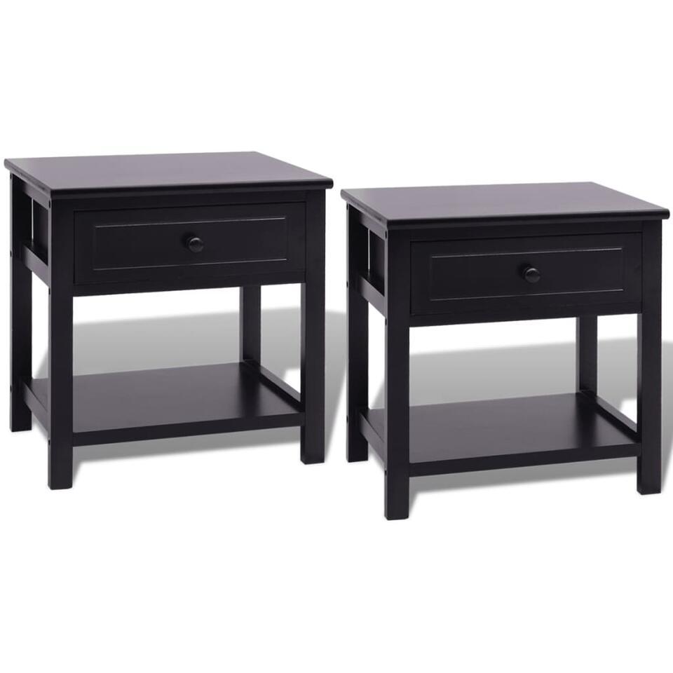 VIDAXL Nachtkastjes - 2 st - hout - zwart