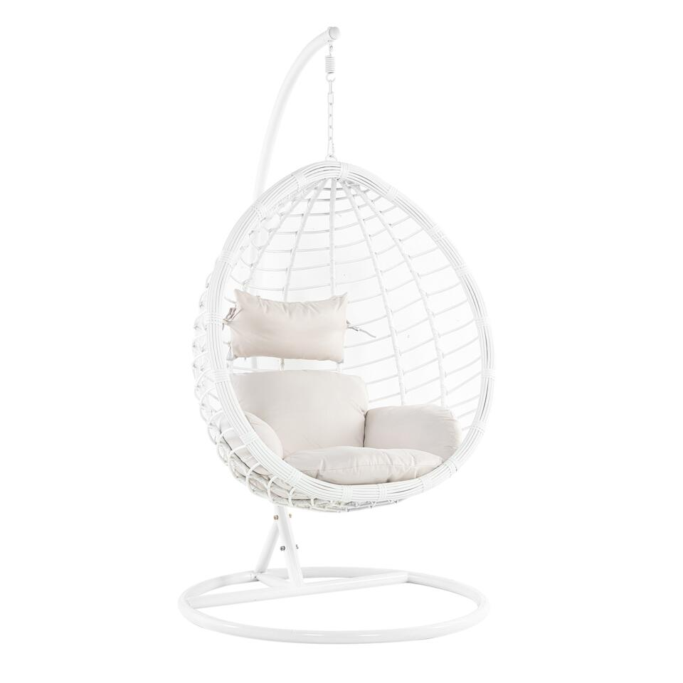 Beliani Hangstoel FANO - wit wicker, staal