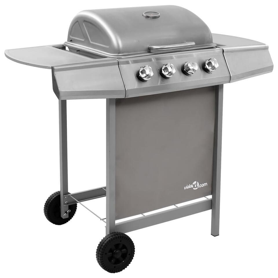 vidaXL Gasbarbecue met 4 branders - zilverkleurig