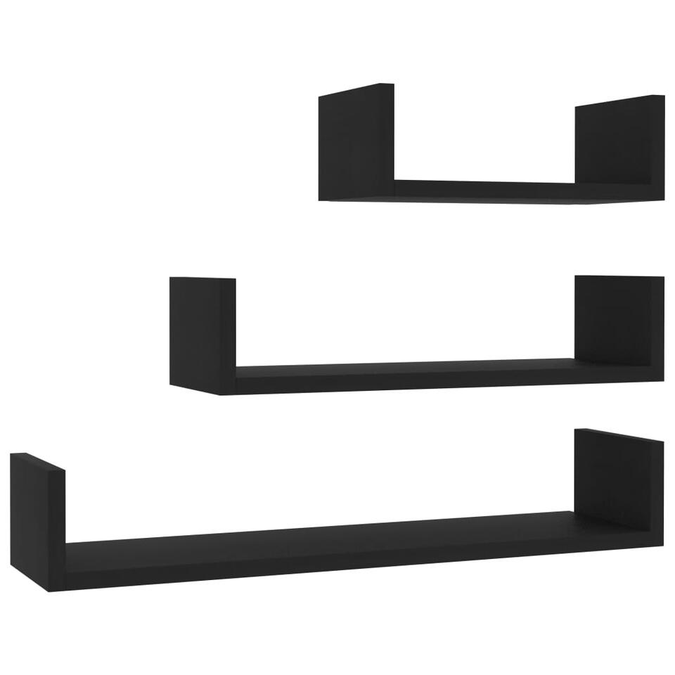 VIDAXL - Wandschappen - 3 st - spaanplaat - zwart