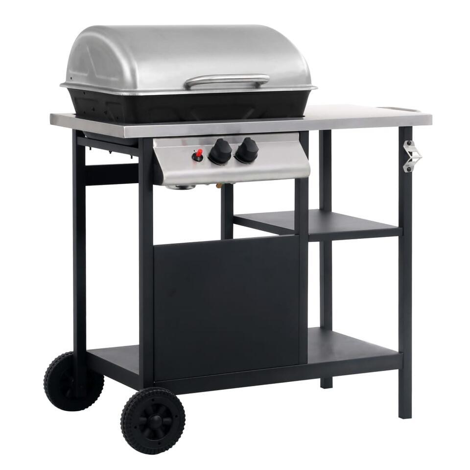 vidaXL Gasbarbecue - zwart/zilverkleurig