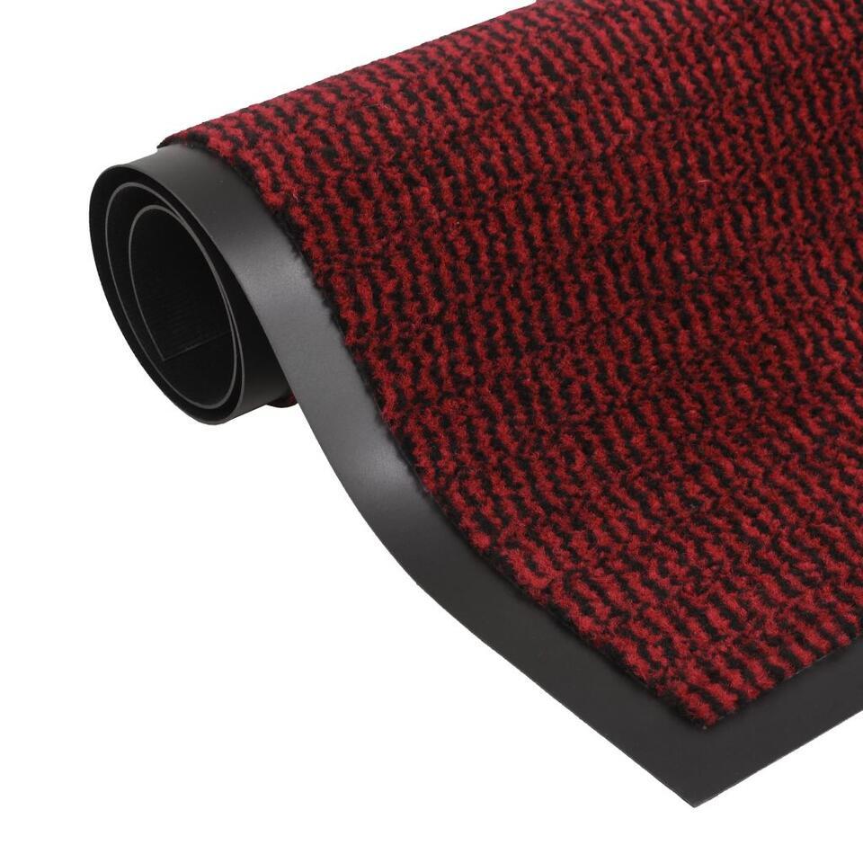 vidaXL Droogloopmat rechthoekig getuft - 60x90 cm - rood