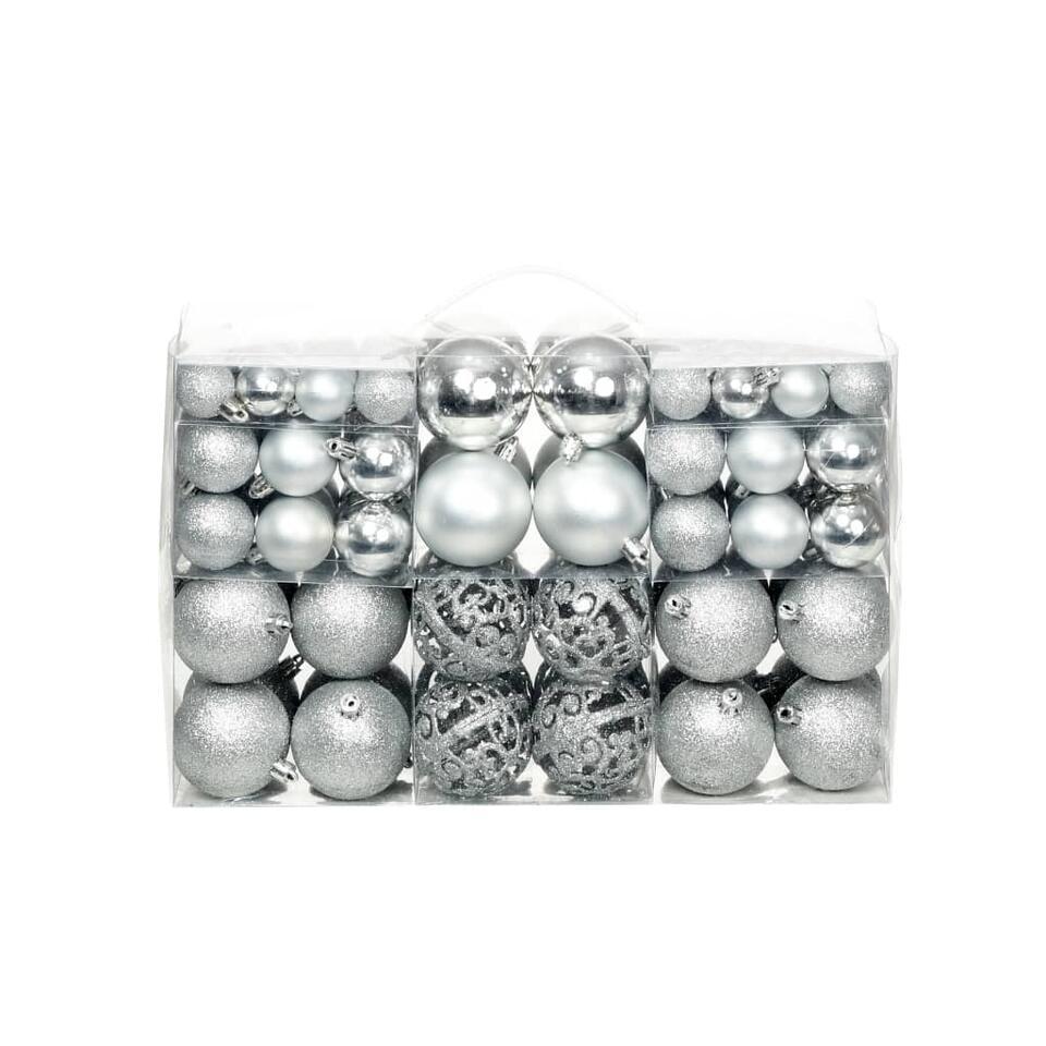 vidaXL Kerstballenset - 6 cm - zilver - 100-delig