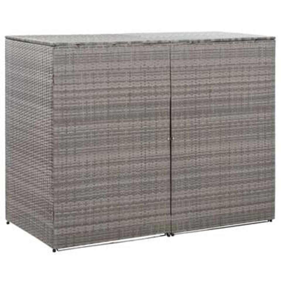 vidaXL Containerberging dubbel 153x78x120 cm poly rattan antraciet