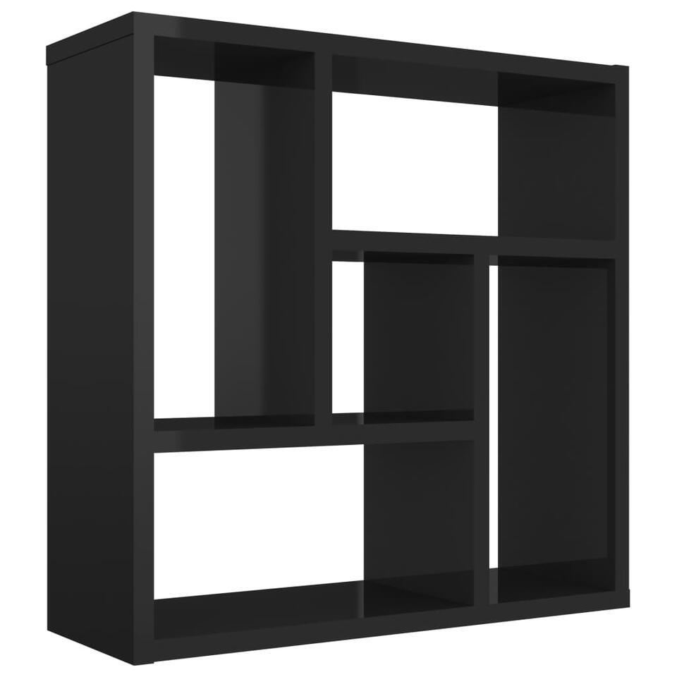 VIDAXL - Wandschap - 45,1x16x45,1 cm - spaanplaat - hoogglans zwart