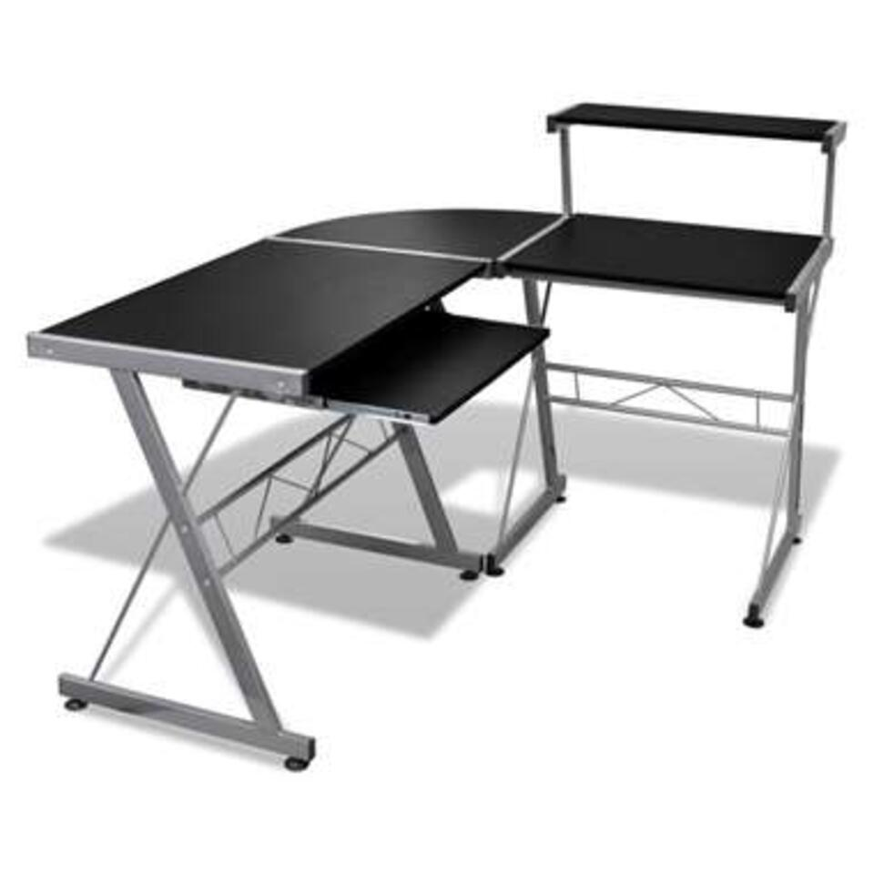 VIDAXL Computer - bureau - met uitschuifbaar - toetsenbordblad - zwart
