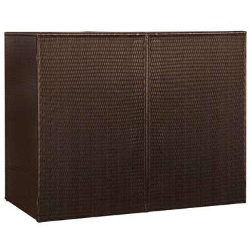vidaXL Containerberging dubbel - 153x78x120 cm - poly rattan - bruin