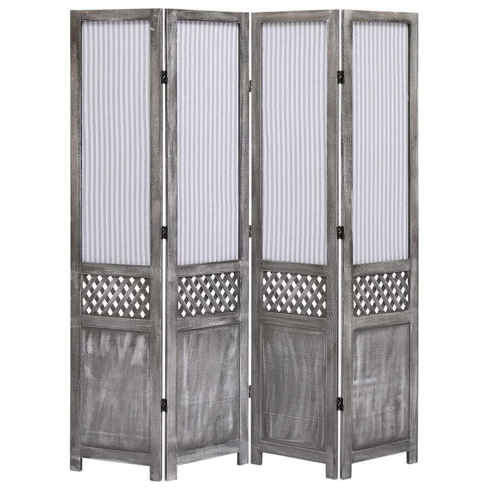 VIDAXL Kamerscherm - met 4 panelen - 140x165 cm - stof - grijs