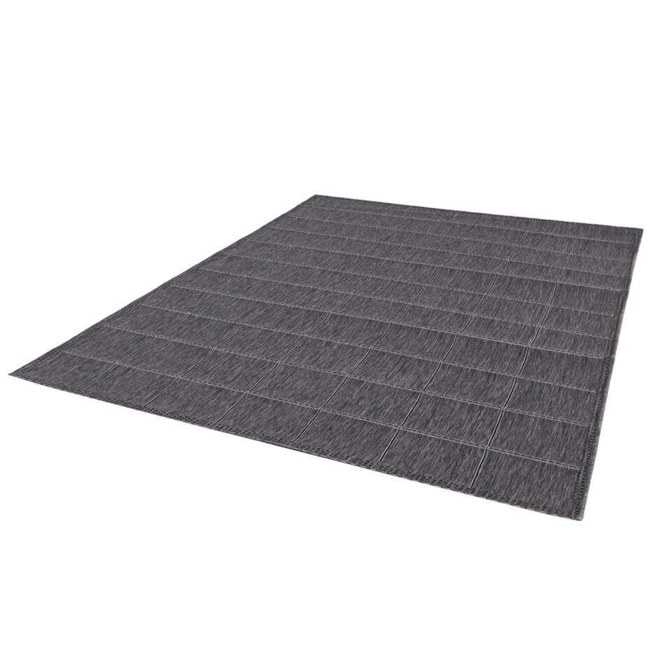 Binnen/buitenvloerkleed Ferrara - lichtgrijs ruit - 120x170 cm - Leen Bakker