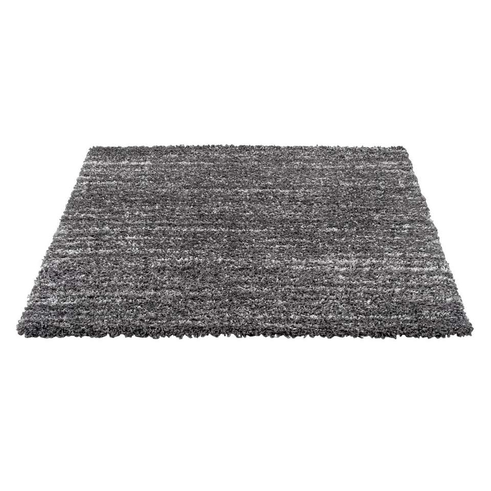 Vloerkleed Bahames is donkergrijs en heeft een afmeting van 160x230 cm. Dit vloerkleed is hoogpolig en is gemêleerd en gemaakt van polypropyleen.