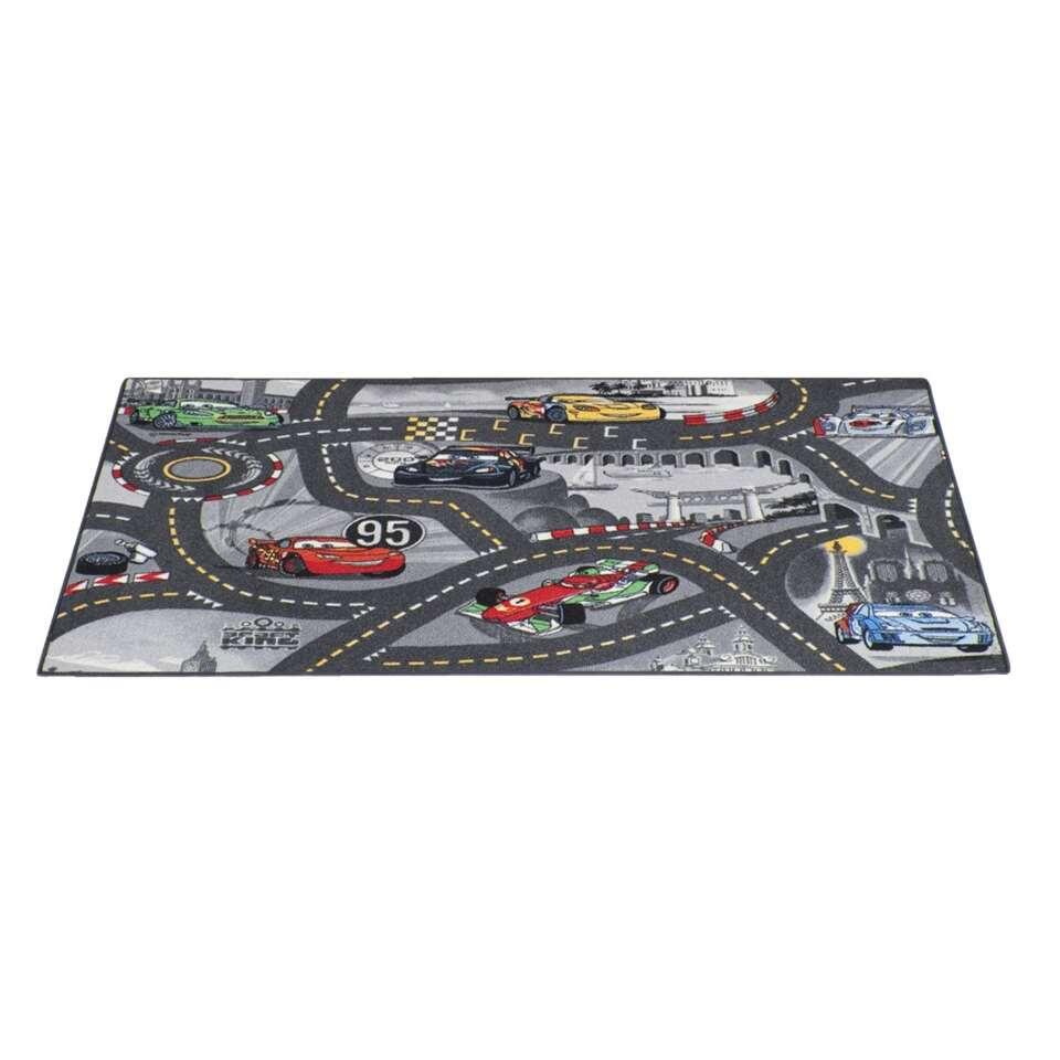 Vloerkleed World of Cars II - grijs - 95x133 cm - Leen Bakker