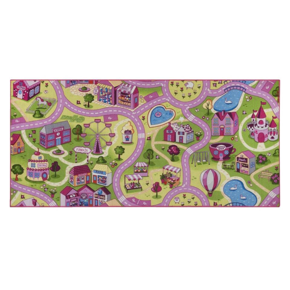 Vloerkleed Sweet town - roze - 95x200 cm