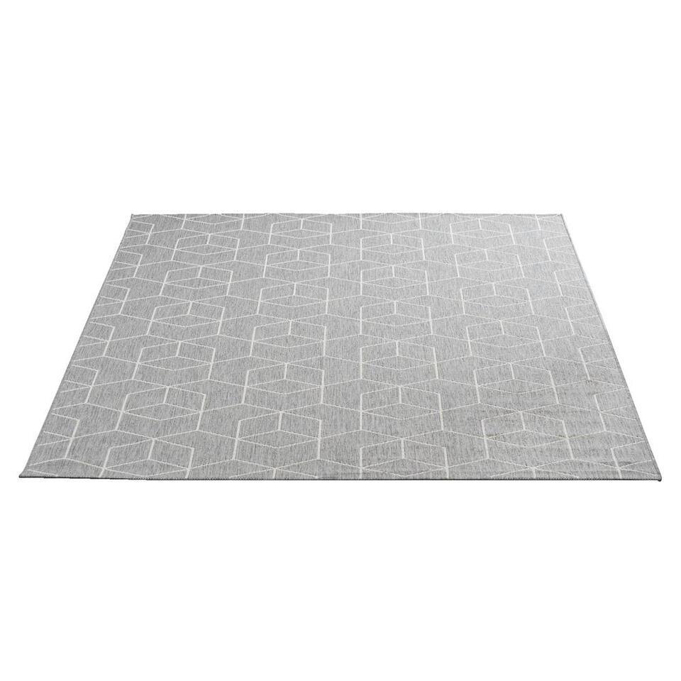 Vloerkleed Essen in de kleur grijs heeft een afmeting van 160x230 cm. Het karpet heeft een moderne uitstraling en is voorzien van een trendy motief.