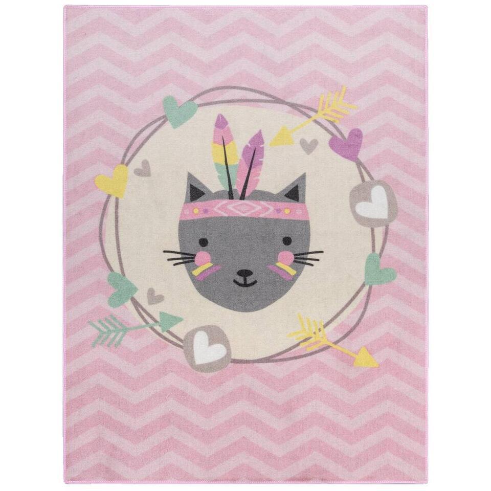 Vloerkleed Mood Feather Cat - roze - 95x125 cm