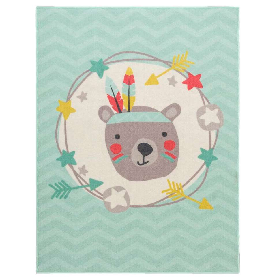 Vloerkleed Mood Feather Bear - mintgroen - 95x125 cm - Leen Bakker