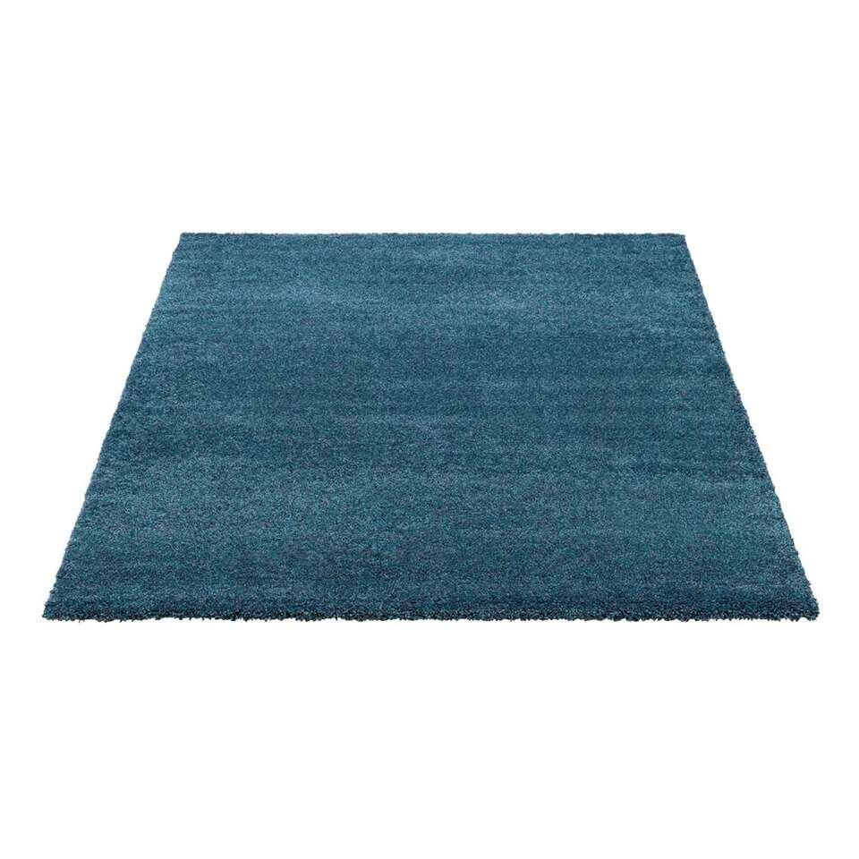 LEEN x Mariska vloerkleed Peacock - blauw/zwart - 160x230 cm - Leen Bakker
