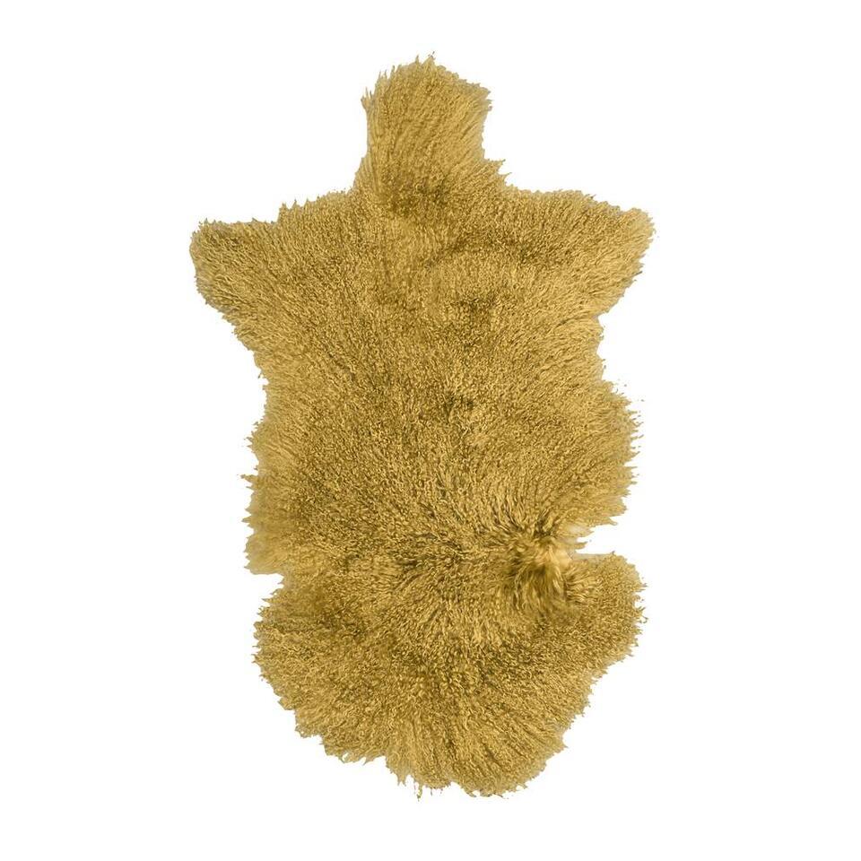 Natuurlijke wooninterieurs zijn hip! Boomstammetjes in de woonkamer bijvoorbeeld, of schapenvachtjes op de bank of op de vloer. Het maakt je woning gezellig en warm. Dit vloerkleed is zacht en heeft een mooie okergele kleur.