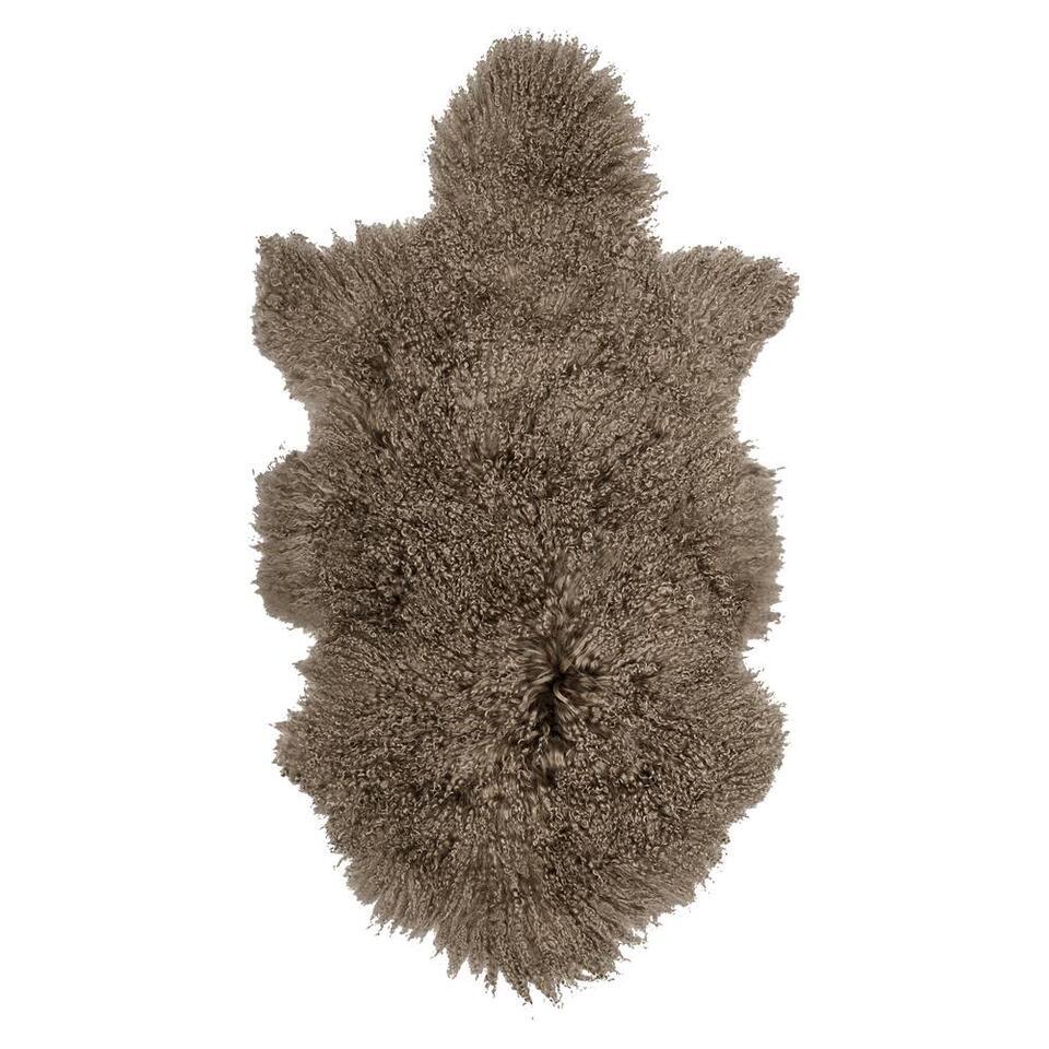 Natuurlijke wooninterieurs zijn hip! Boomstammetjes in de woonkamer bijvoorbeeld, of schapenvachtjes op de bank of op de vloer. Het maakt je woning gezellig en warm. Dit vloerkleed is zacht en heeft de mooie kleur taupe.