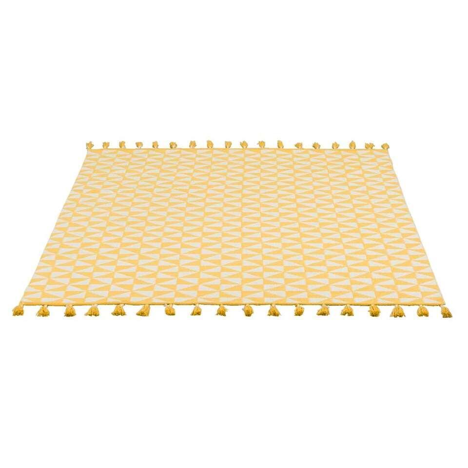Binnen/buitenvloerkleed Jaipur - geel/wit - 160x230 cm - Leen Bakker