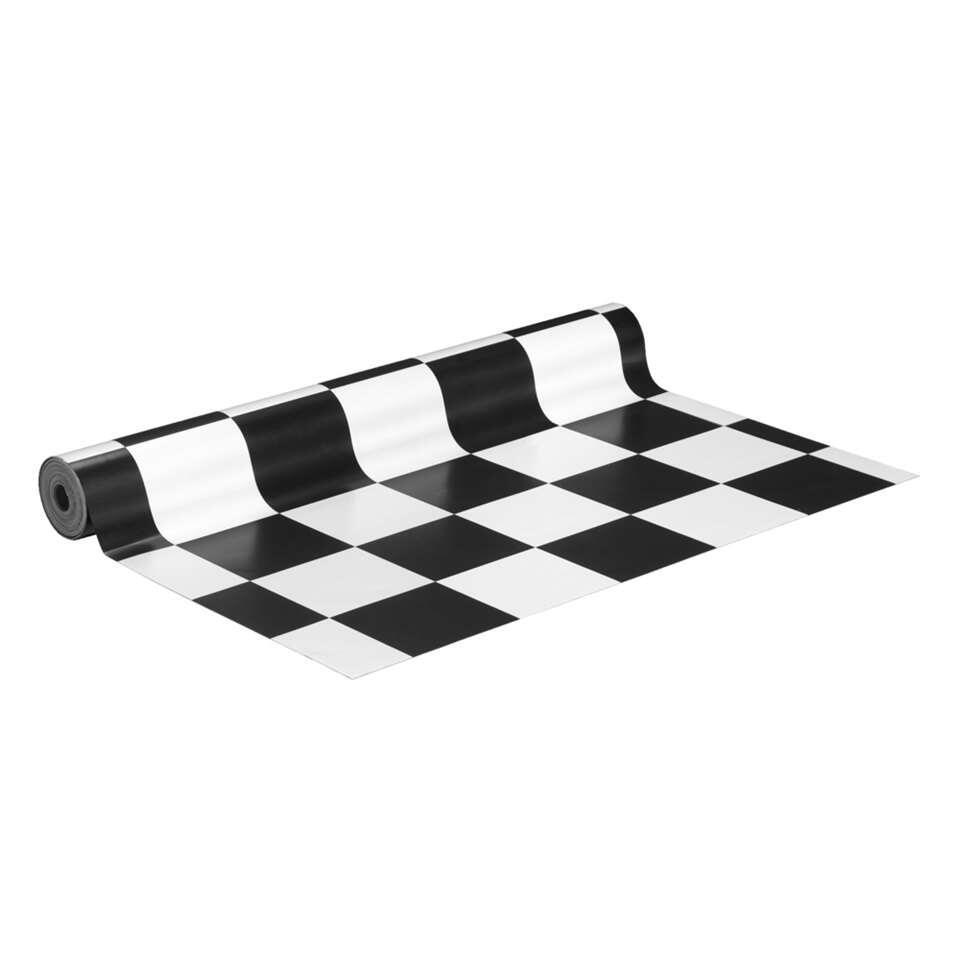 zwart wit geblokt vloerkleed