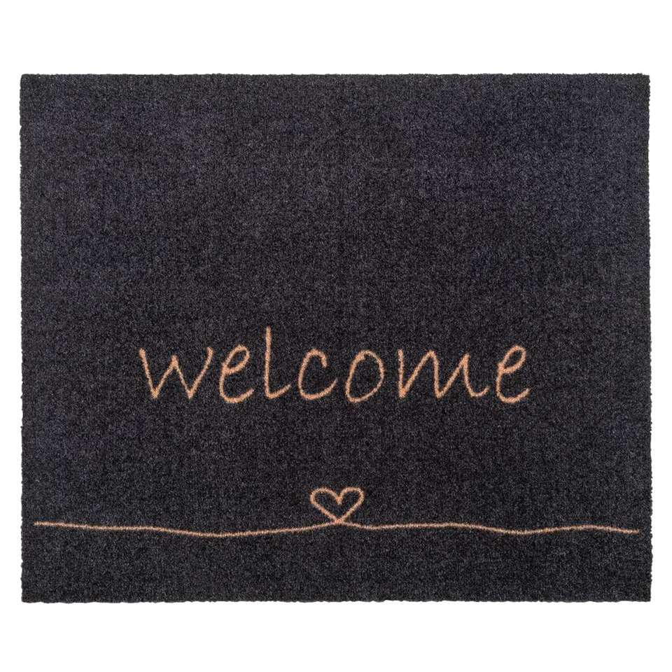 Mat Walk&Wash Welcome - antraciet - 67x80 cm