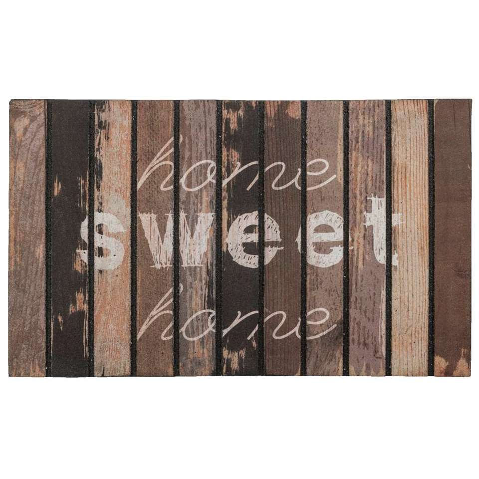 Ecomat Home sweet home - bruin - 46x76 cm