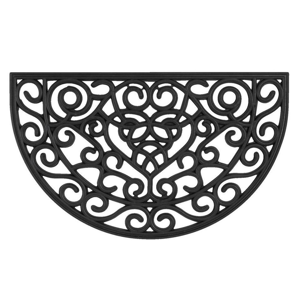 Mat Country halfrond - zwart - 45x75 cm