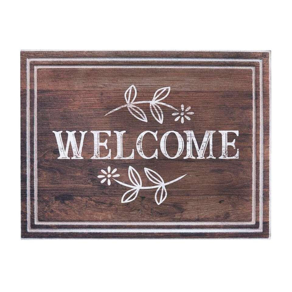Ecomat Tradition Welcome Daisy - bruin - 45x60 cm