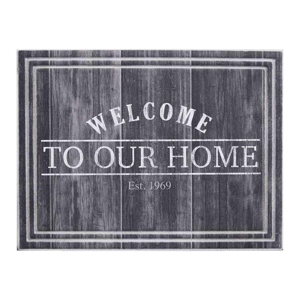 Ecomat Tradition Welcome To Our Home - antraciet - 45x60 cm