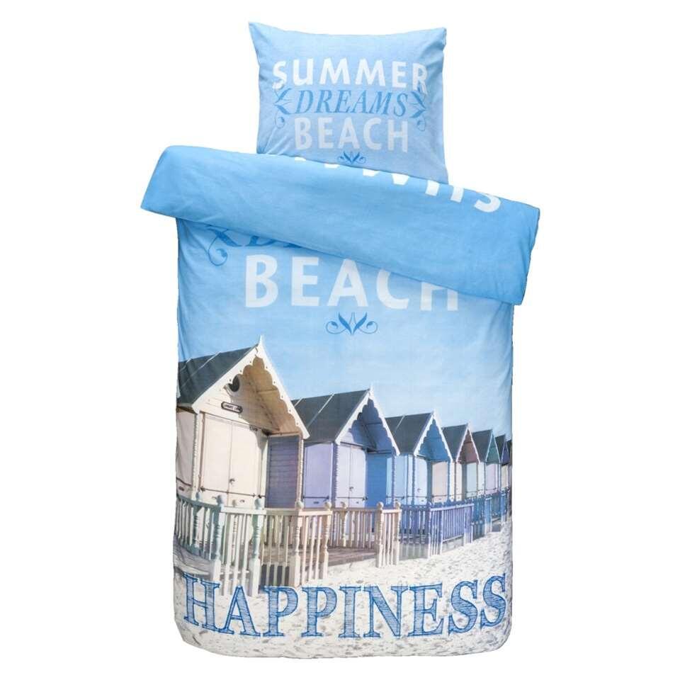 Dekbedovertrek Beach House - blauw - 200x200/220 cm - Leen Bakker