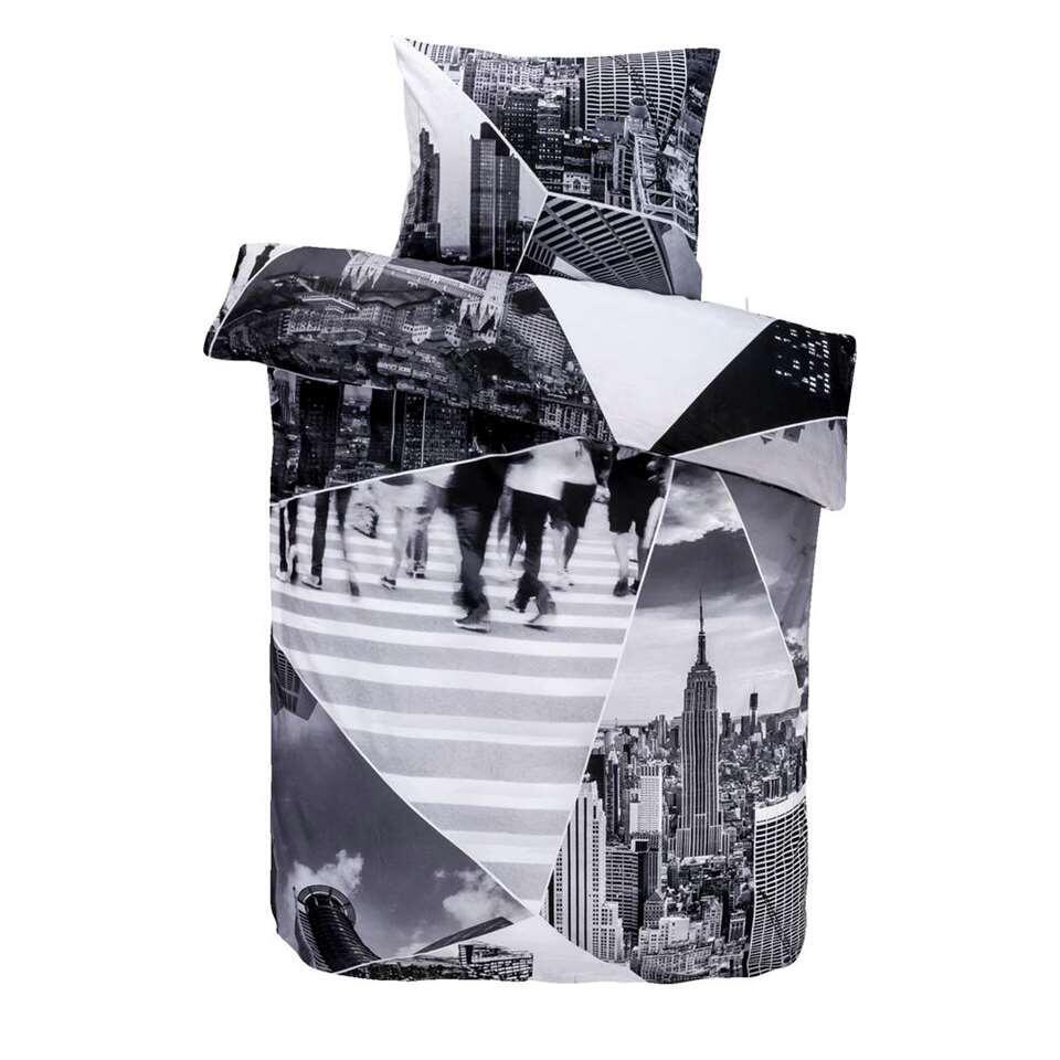 Dekbedovertrek Citytrip – zwart/wit – 240×200 cm – Leen Bakker