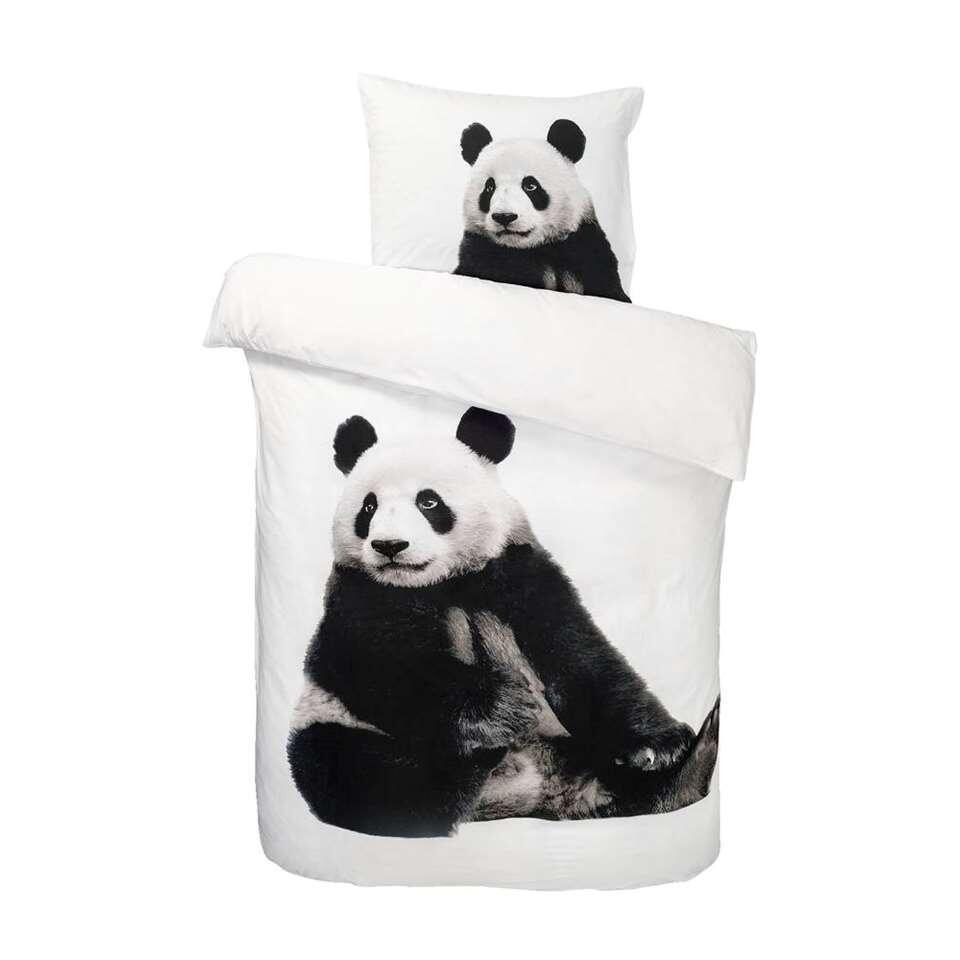 Dream dekbedovertrek Panda - zwart/wit - 140x200 cm - Leen Bakker