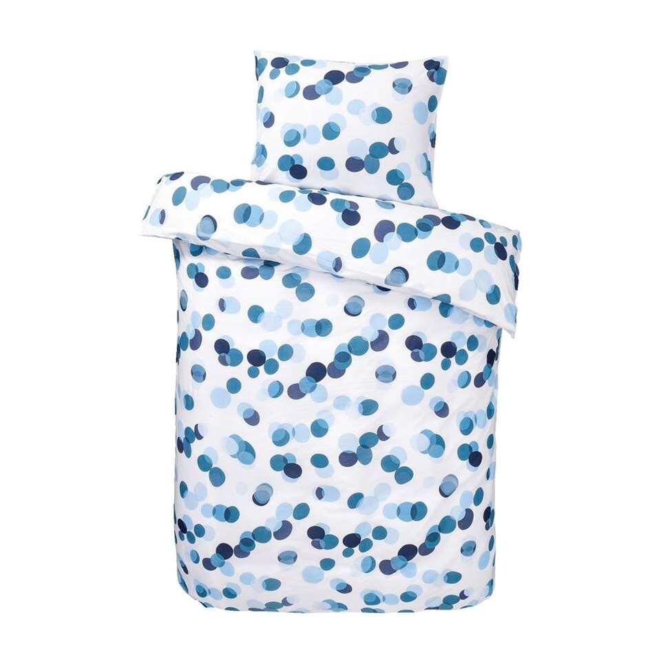 Dekbedovertrek Celeste - wit/blauw - 200x200 cm - Leen Bakker